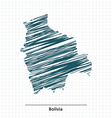 Doodle sketch of Bolivia map vector image vector image