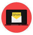 envelope with spam spam email warning window on vector image