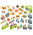 fast food isometric cort set vector image vector image