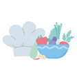food fresh chef hat vegetables in dish isolated vector image vector image