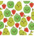fresh fruits kawaii characters vector image vector image
