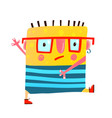 fun yellow serious monster childish cute creature vector image