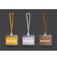 gold silver and bronze lanyards vector image vector image
