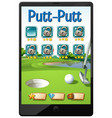 golf or putt putt game on tablet screen vector image