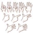 hand drawing sketch man hands showing numbers vector image