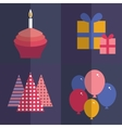 Happy birthday flat style set Cupcake with a vector image vector image