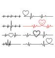 heart pulse cardiogram line heartbeat vector image