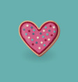 heart shape cookie with decoration valentine day vector image