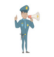 hispanic policeman speaking into loudspeaker vector image