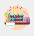 holiday birthday background with cake present and vector image vector image