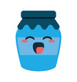 homemade jam bottle cute kawaii cartoon vector image