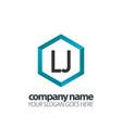 initial letter lj hexagon box creative logo black vector image vector image