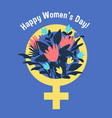 international womens day poster woman sign with vector image