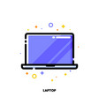 line icon of laptop computer with big display vector image vector image