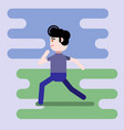 male in flat style - fast running man vector image