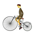 man on retro vintage old bicycle isolated on white vector image vector image