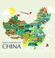 map of china attractions and vector image vector image