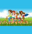 nature scene background with family riding in the vector image