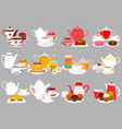 on theme big colored set different types teapots vector image vector image