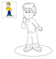 Picture for coloring thoughtful boy vector image