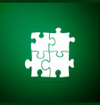 piece of puzzle icon isolated on green background vector image