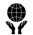 protecting or control hands holding globe simple vector image