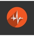 Pulse Heart Rate Icon in flat style with long vector image