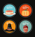 pumpkin with set icons of thanksgiving day vector image vector image