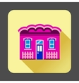 Purple cottage icon flat style vector image vector image