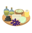 Spa set accessories on wooden tray vector image