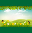 spring nature landscape background with flowers vector image vector image