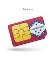 State of Arkansas phone sim card with flag vector image vector image