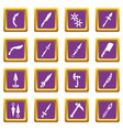 steel arms items icons set purple square vector image vector image