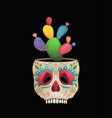 sugar skull flower pot with cactus funny mexican vector image
