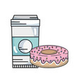 sweet donut with tasty coffee plastic cup vector image vector image