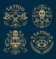 tattoo studio emblems on dark blue backdrop vector image vector image
