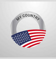 united states of america my country flag badge vector image