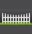 white wooden fence with green grass vector image