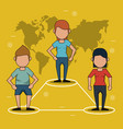 yellow background with map of the world and link vector image vector image