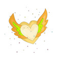 yellow simple heart with wings icon fun cartoon vector image