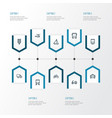 shipment outline icons set collection of traffic vector image