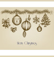 vintage christmas ornaments hand drawn garland vector image