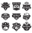 set of cryptocurrency mining emblems isolated on vector image
