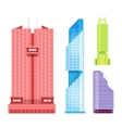 Skyscrapers icons set in detailed flat style vector image