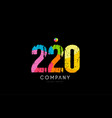220 number grunge color rainbow numeral digit logo vector image vector image