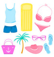 a set summer accessories for a beach holiday vector image vector image