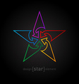 Abstract rainbow star design element made of thin vector image