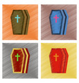 assembly flat shading style icons halloween coffin vector image vector image