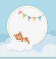 bashower circular card with little bear teddy vector image vector image