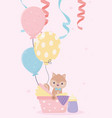 bashower squirrel in with balloons card cartoon vector image vector image